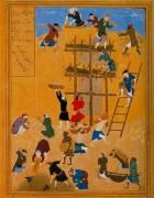 Construction of the fort of Kharnaq, Miniatur, circa 1494-1495 © British Museum